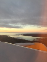 sunset landing at Keflavik Int'l Airport in Iceland