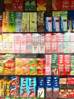 brightly colored boxes filled shops' windows